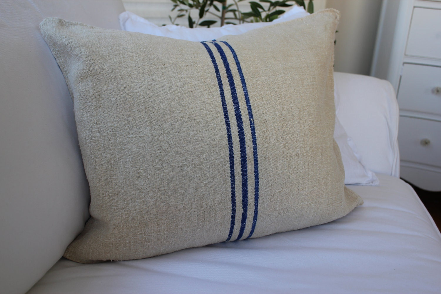 Vintage European Grain Sack Pillow Blue Striped