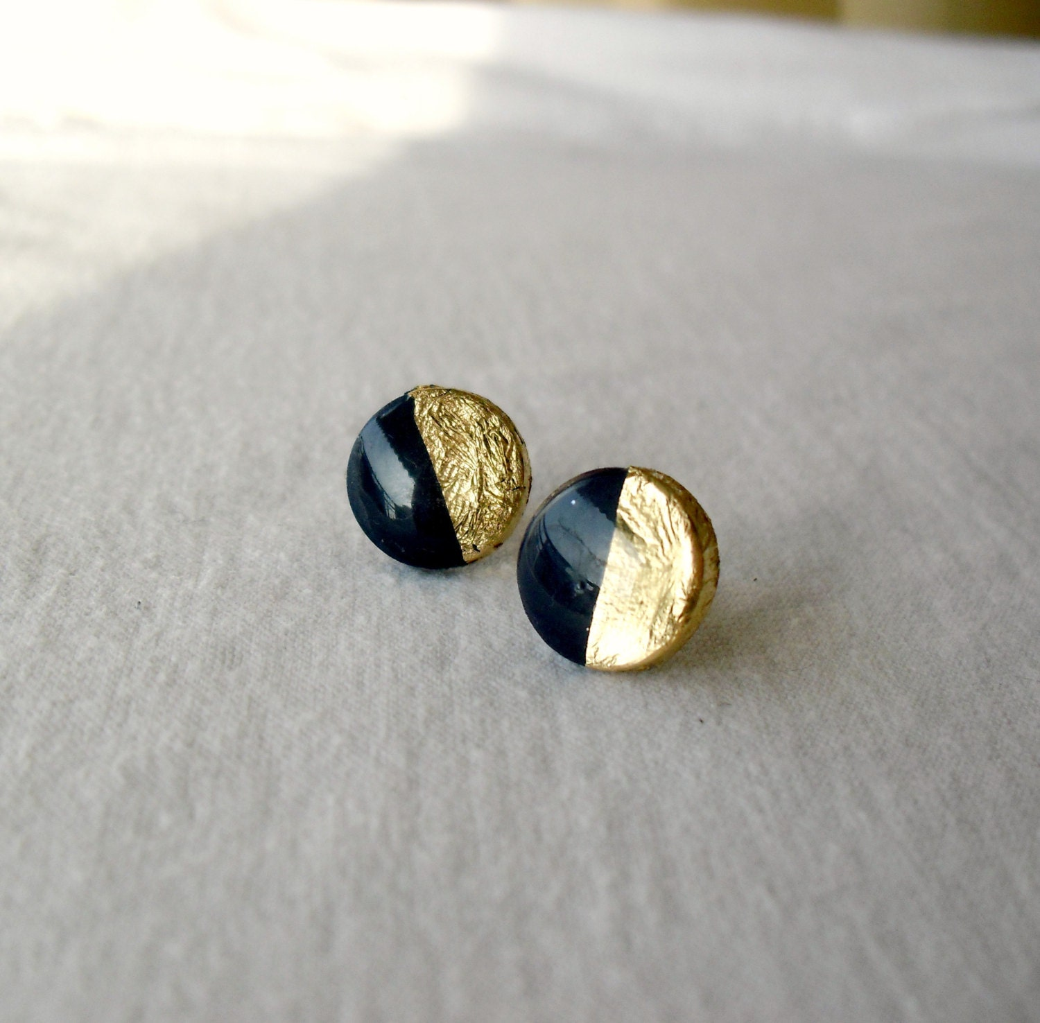 navy blue gold stud earrings gold dipped by divinedecadance