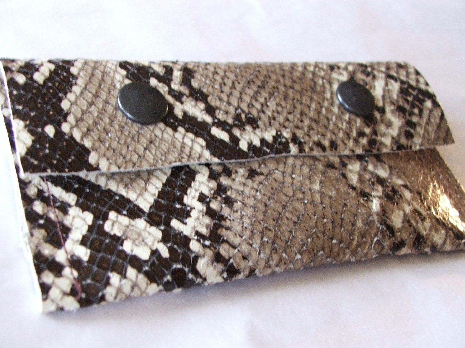 snake effect leather pouch