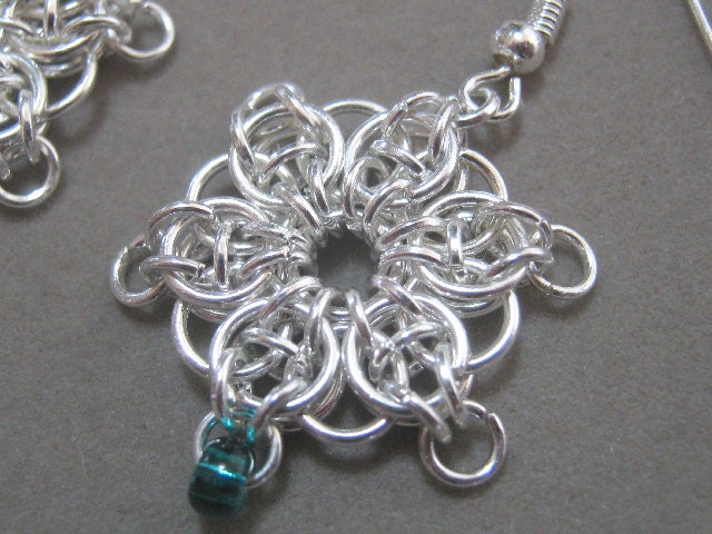 Earrings Celtic Star Mini Chainmaille and Glass Beads