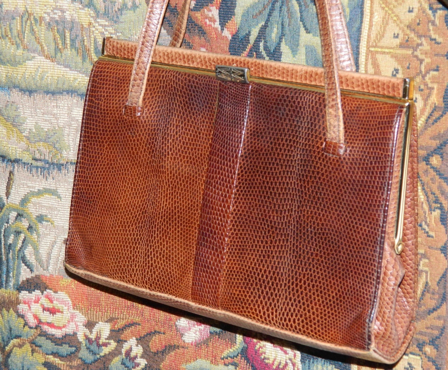 Mappin and Webb vintage brown  leather handbag  Kelly style  with double handles interior pockets Elegant purse.
