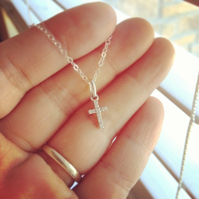 dainty 14k white gold diamond cross pendent necklace by. Black Bedroom Furniture Sets. Home Design Ideas