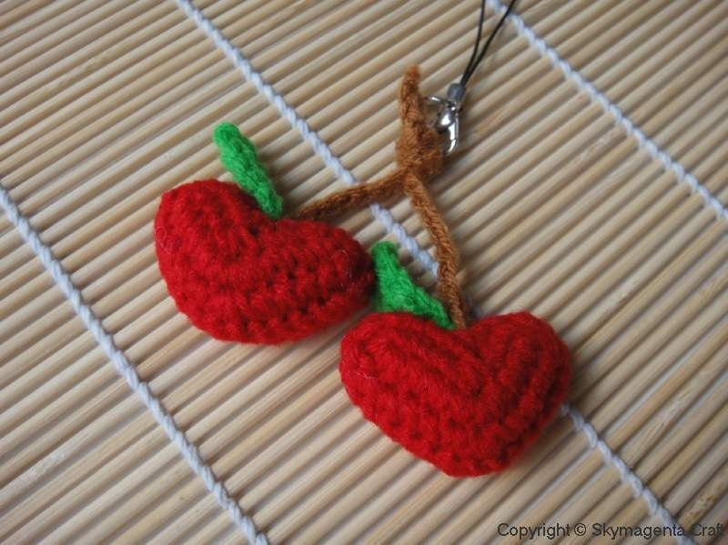 Crochet Cell Phone Charm - Heart Cherry - Valentine