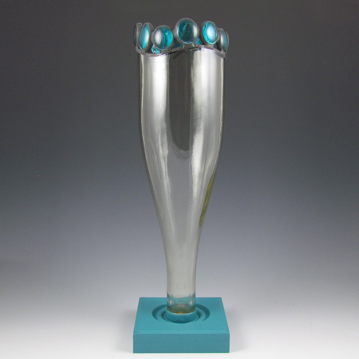 Items similar to recycled wine bottle vase turquoise for Wine bottle flower vase