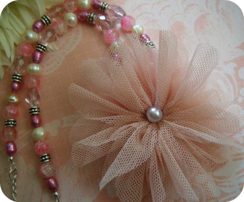 Party Girl - OOAK Pink Beaded Whimsical Tulle Brooch Vintage Style Necklace