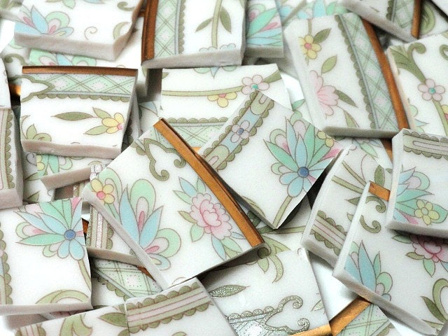 Shabby chic mosaic tiles mosaics mosaic by for Shabby chic wall tiles