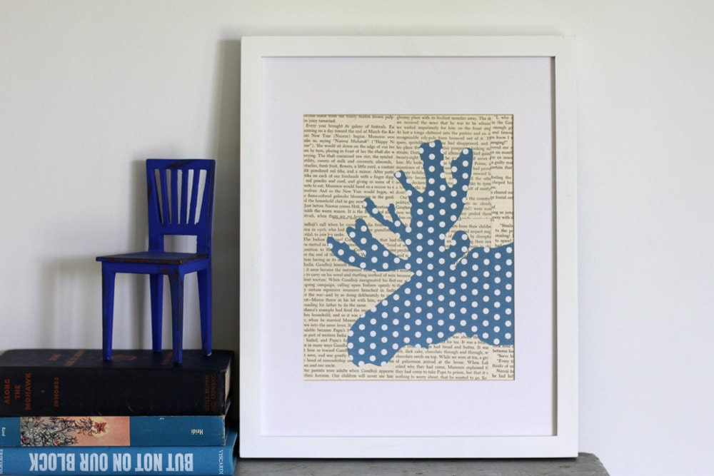 Moose Art with Blue and White Dots and Vintage Text, Antler Art, Moose Decor, Modern Woodland, Nursery Decor, Woodland Art, Animal Art