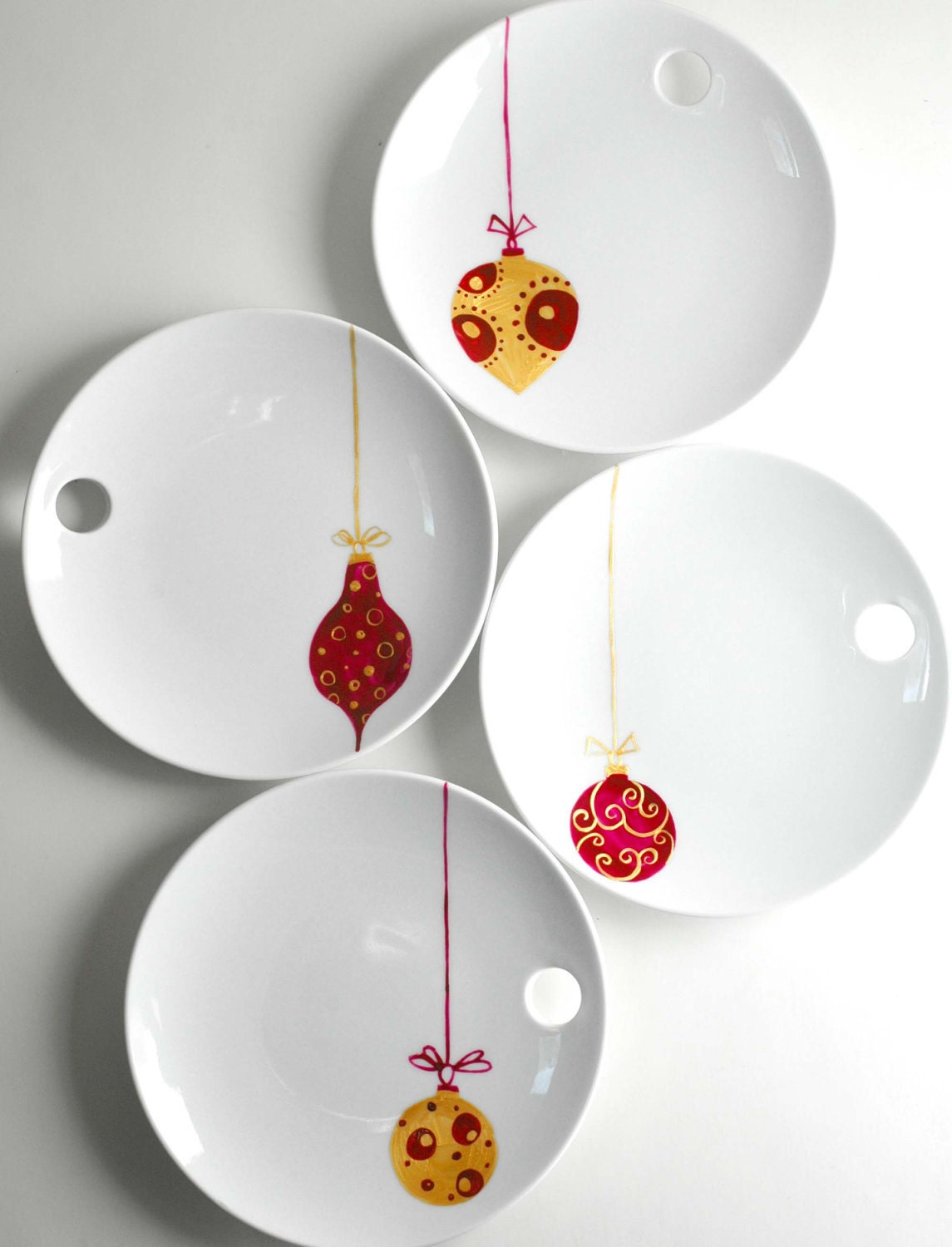 Christmas Ornaments Round Appetizer Plates4 by ...
