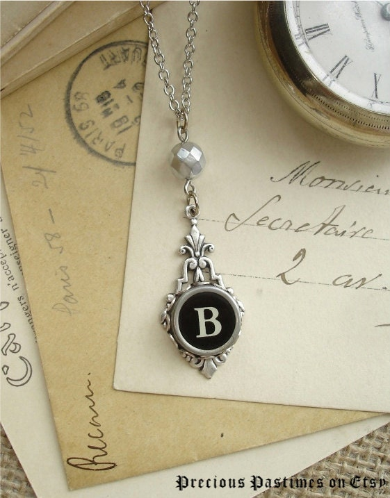 Initial B  Vintage Typewriter Charm Pendant by PreciousPastimes from etsy.com