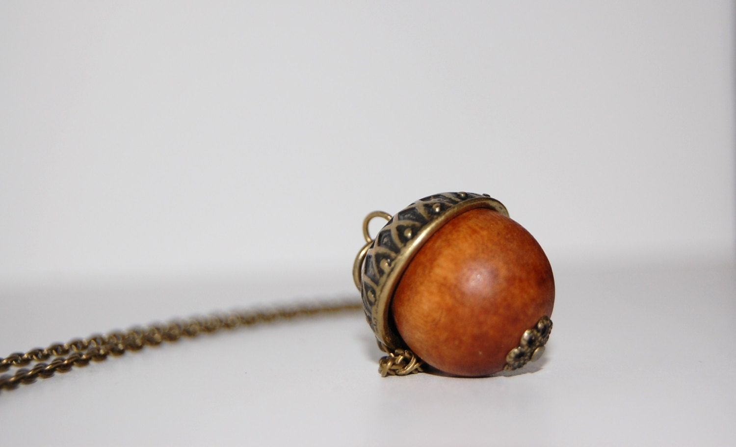 Metal and Wood Acorn Charm Necklace - WinstonGrady