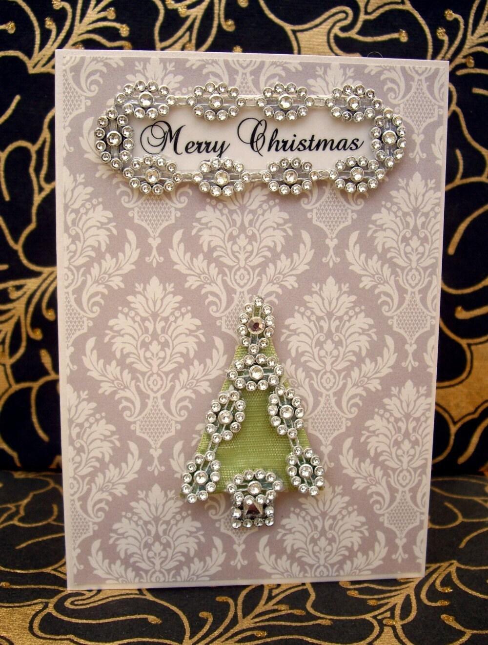 SALE Merry Christmas Tree Card / Handmade Greeting Card