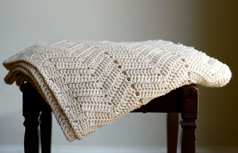 Vintage Handmade Crochet Throw Blanket