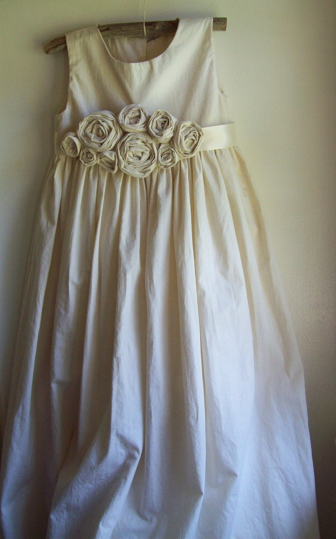 Roses ... Natural Cotton Flower Girl Dress Custom Made