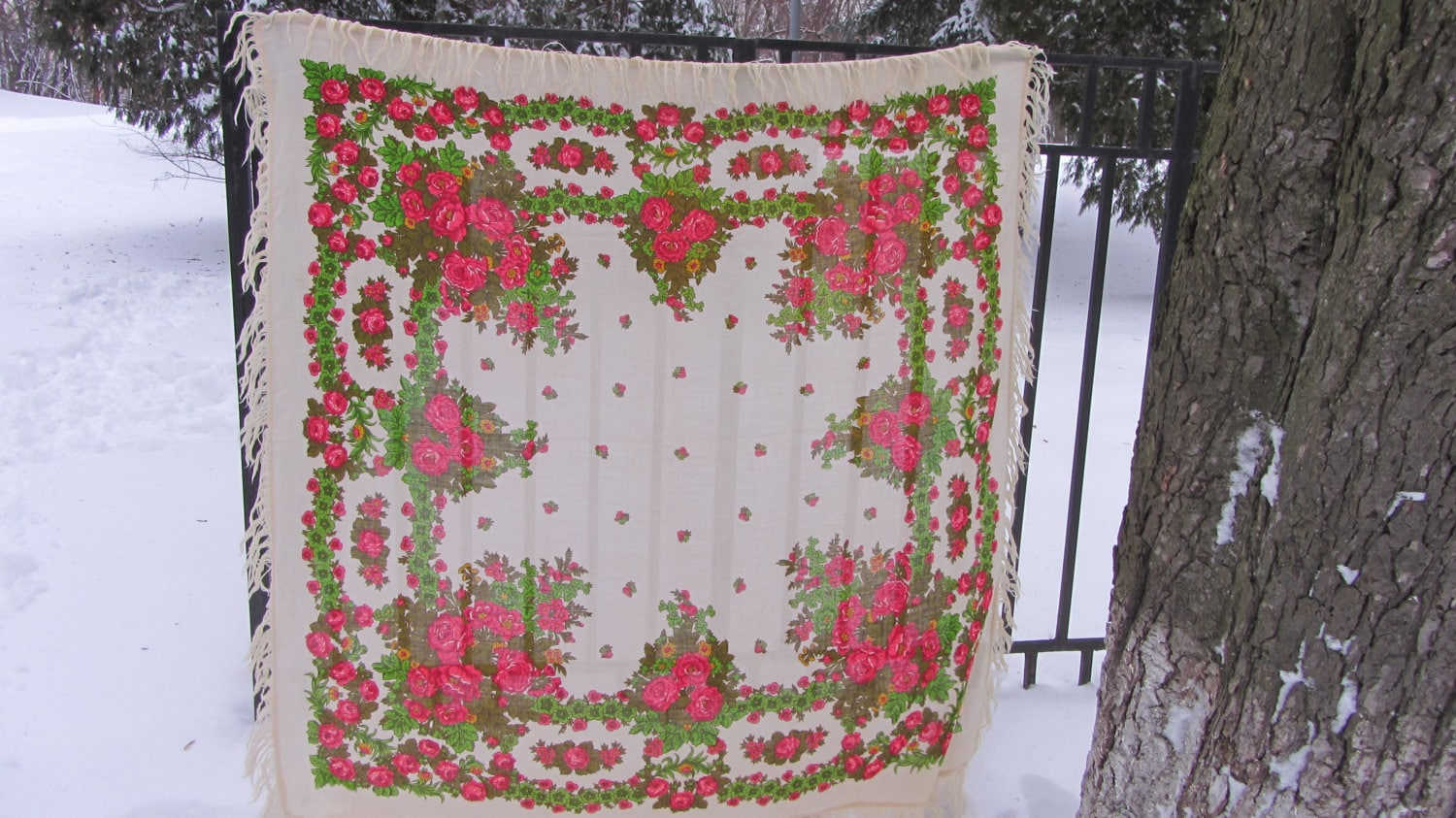 Floral Vintage Pure Wool Scarf White Ukrainian, Russian Floral Scarf, white shaw