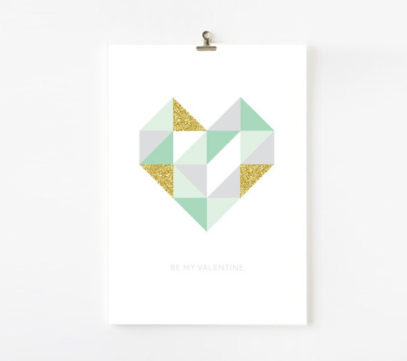 Geometric Heart  printable  - mint, gold, pink, black, grey - LaFelizCelebrations