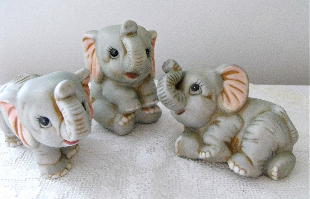 Vintage Set Of 3 Baby Elephant Porcelain Figurines By By