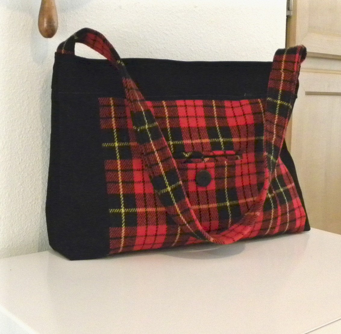 Handmade from a Black Leather Jacket and Scottish Red Plaid Jacket - Handbag - Tote Bag - Purse