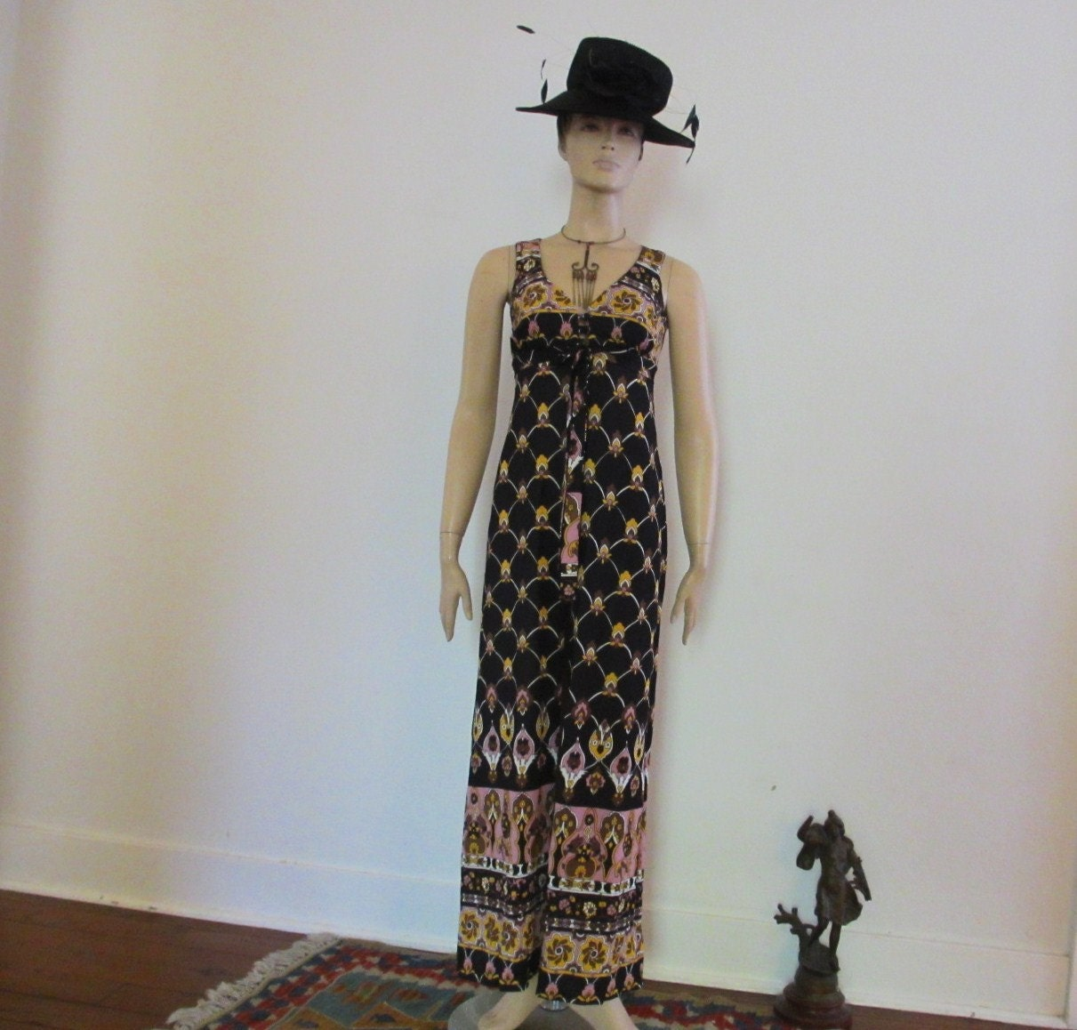 60s Vintage Hippie Hostess Party Dress Hot Pants small