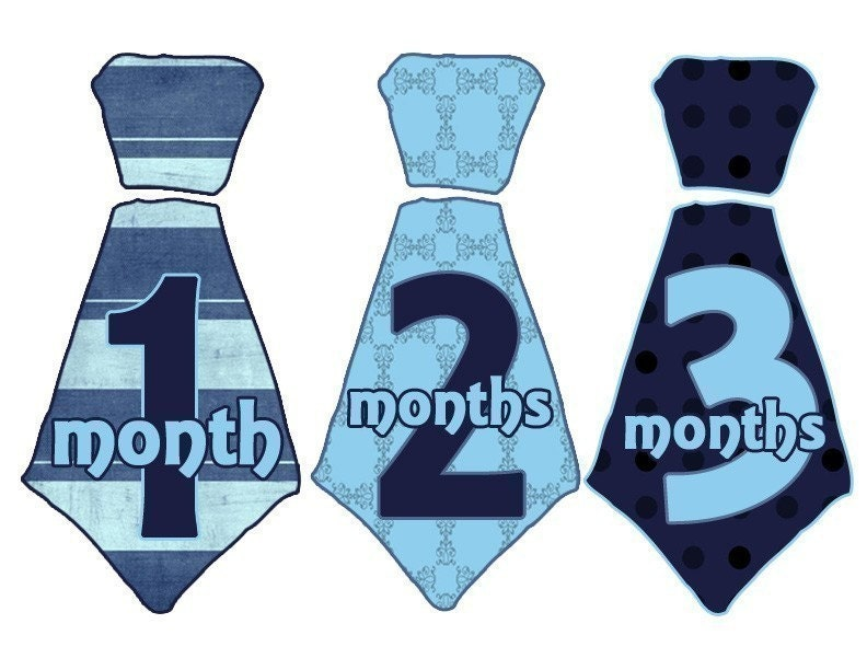 Monthly Onesie Stickers Most Popular Boy New TIE BLUES-FREE SHIPPING