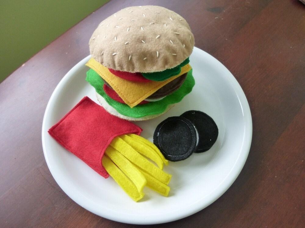 Burger and Fries - Felt Play Food