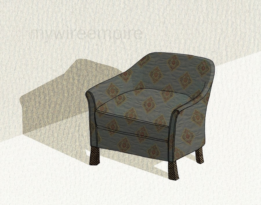 club chair (diamond blue) - print