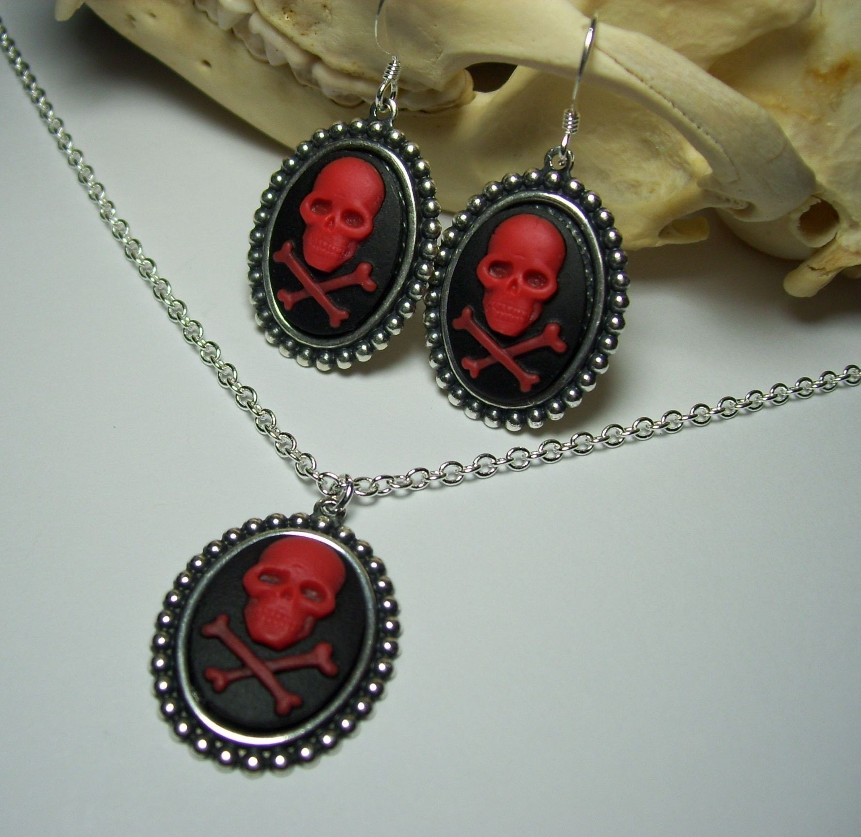 Antique Silver Red on Black Skull and Cross Bones Cameo Gothic Pendant Necklace and Earrings Set