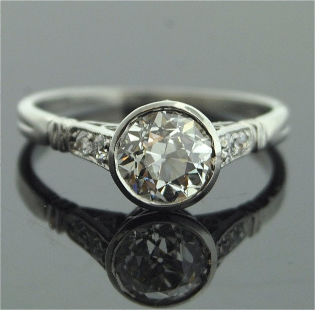 1920s Engagement Ring Platinum and Diamond Ring by SITFineJewelry