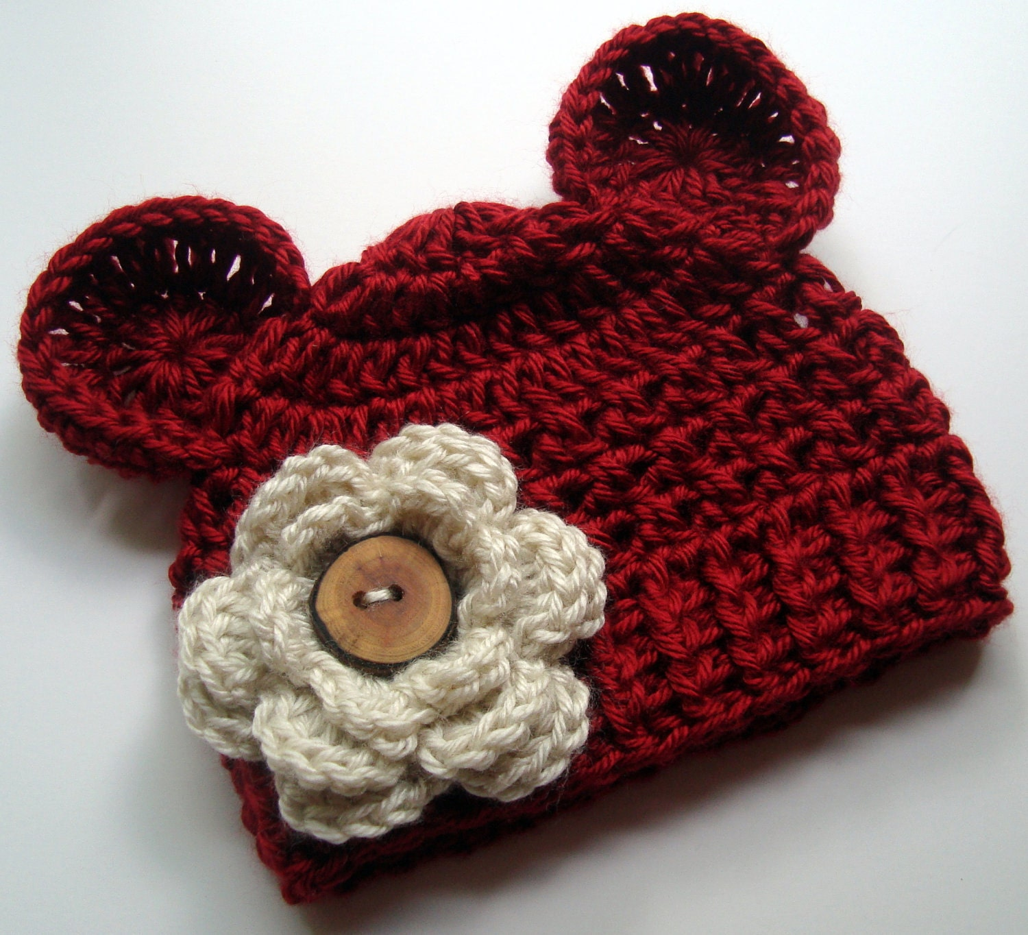 Crochet Patterns Baby Hats With Ears : Baby Girl Hat Baby Hat Infant Winter Hat Crochet Hat by ...