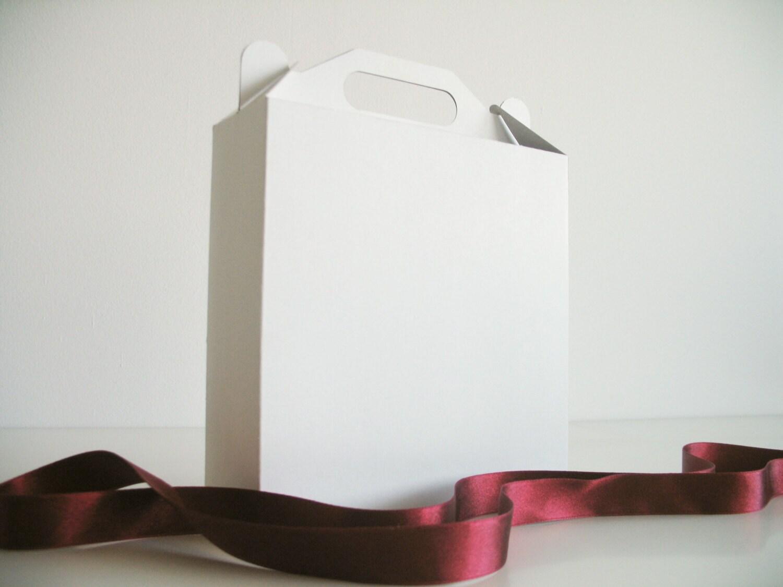 12 White, Gray or Kraft Gable Boxes I Large size handle boxes I Gift boxes 7.09x7.09x2.36 - FunkyBoxStudio