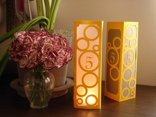 Modern Circles Cut Table Number Tents or Luminaries