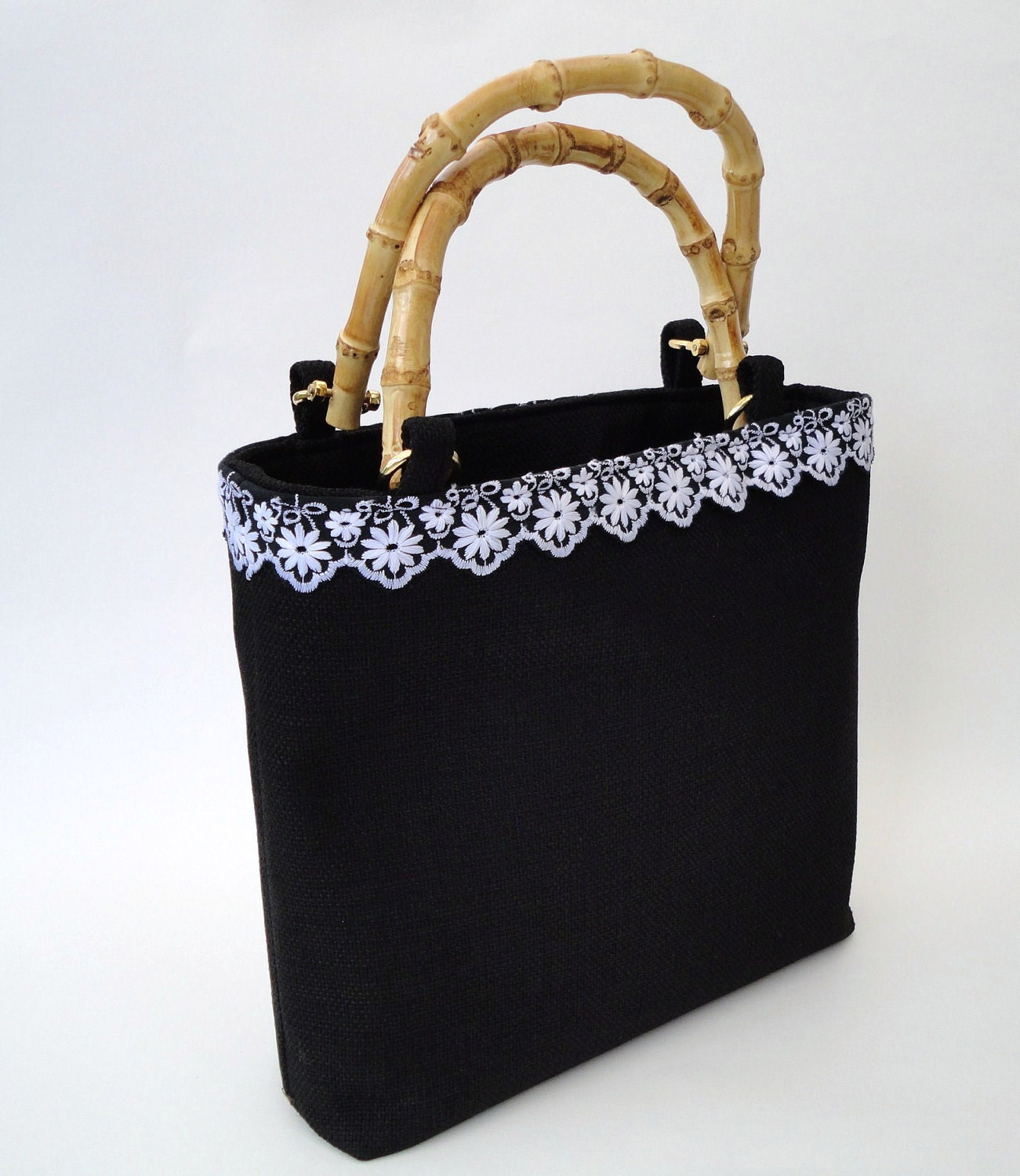 Handbag with Bamboo Handles - Ebony and Ivory for Sophie
