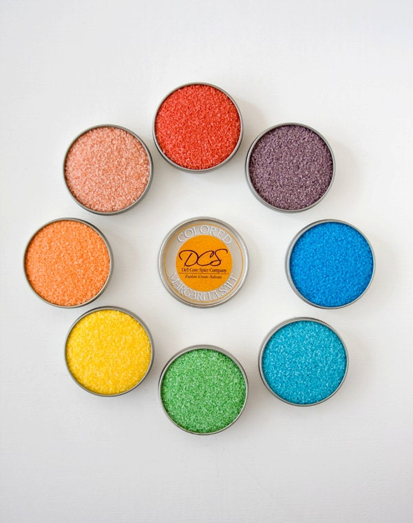 Colored margarita salt - colored salt with margarita recipes - rim salt for margarita drinks glasses - gift box included - dellcovespices