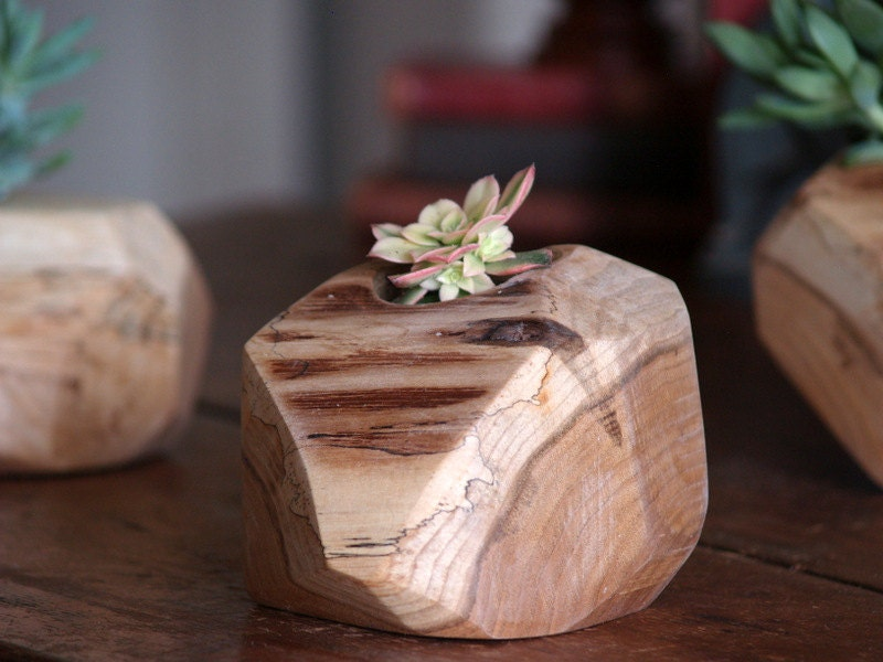 Items similar to wooden succulent planter rustic plant for Wooden cactus planter