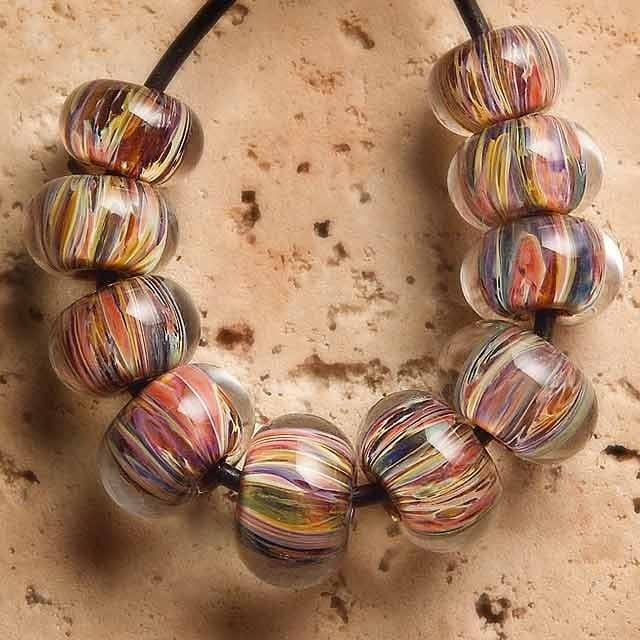 AUTUMN LEAVES Lampwork beads 10
