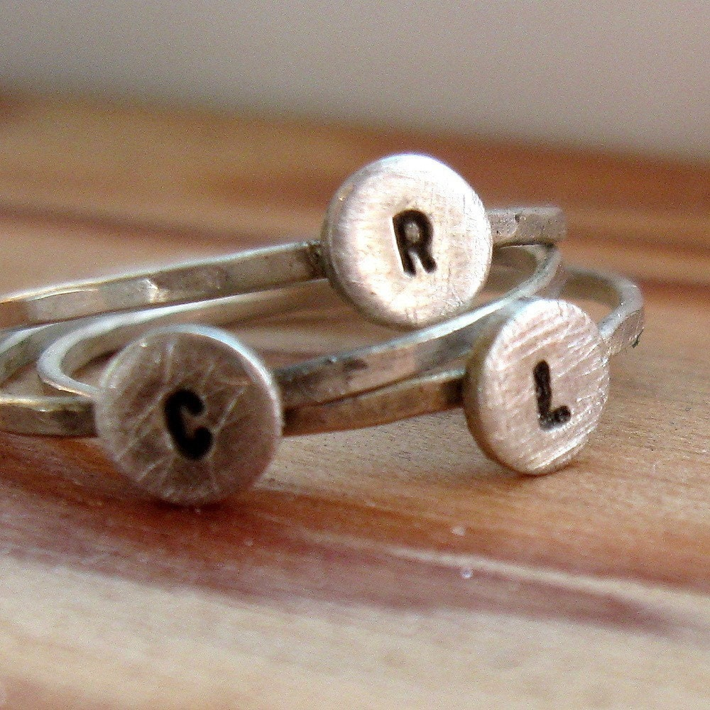Sterling silver personalized stacker rings, $80