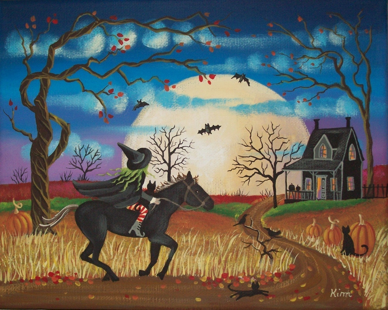 Twilight Moon Folk Art 10 x 8 Print FREE SHIPPING