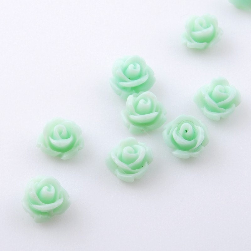 B148-MT // Mint Tiny Carved Rose Cabochons, 10 Pc