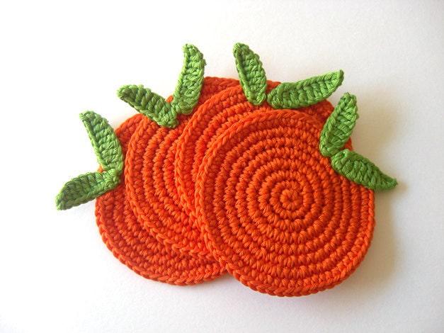 Sweet Orange Coasters . Citrus Mandarin Juice, Beverage Drink, Green Leaves, Decor Crochet Fruit Collection - Set of 4