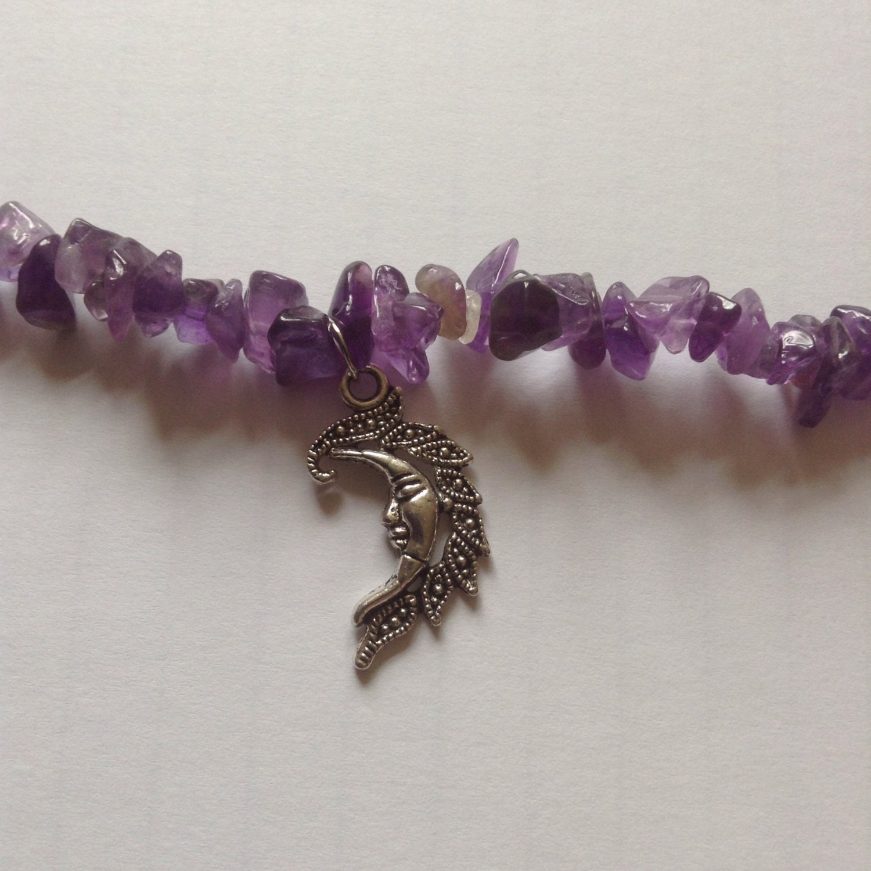 Beautiful hand crafted amethyst gemstone moon goddess bracelet chakra