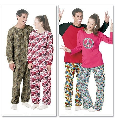 Teen to Adult Footie Pajamas. From sewdelightful4U