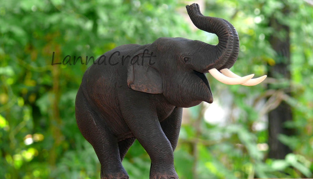 Wood Carving - Elephant 02 - LannaCraft