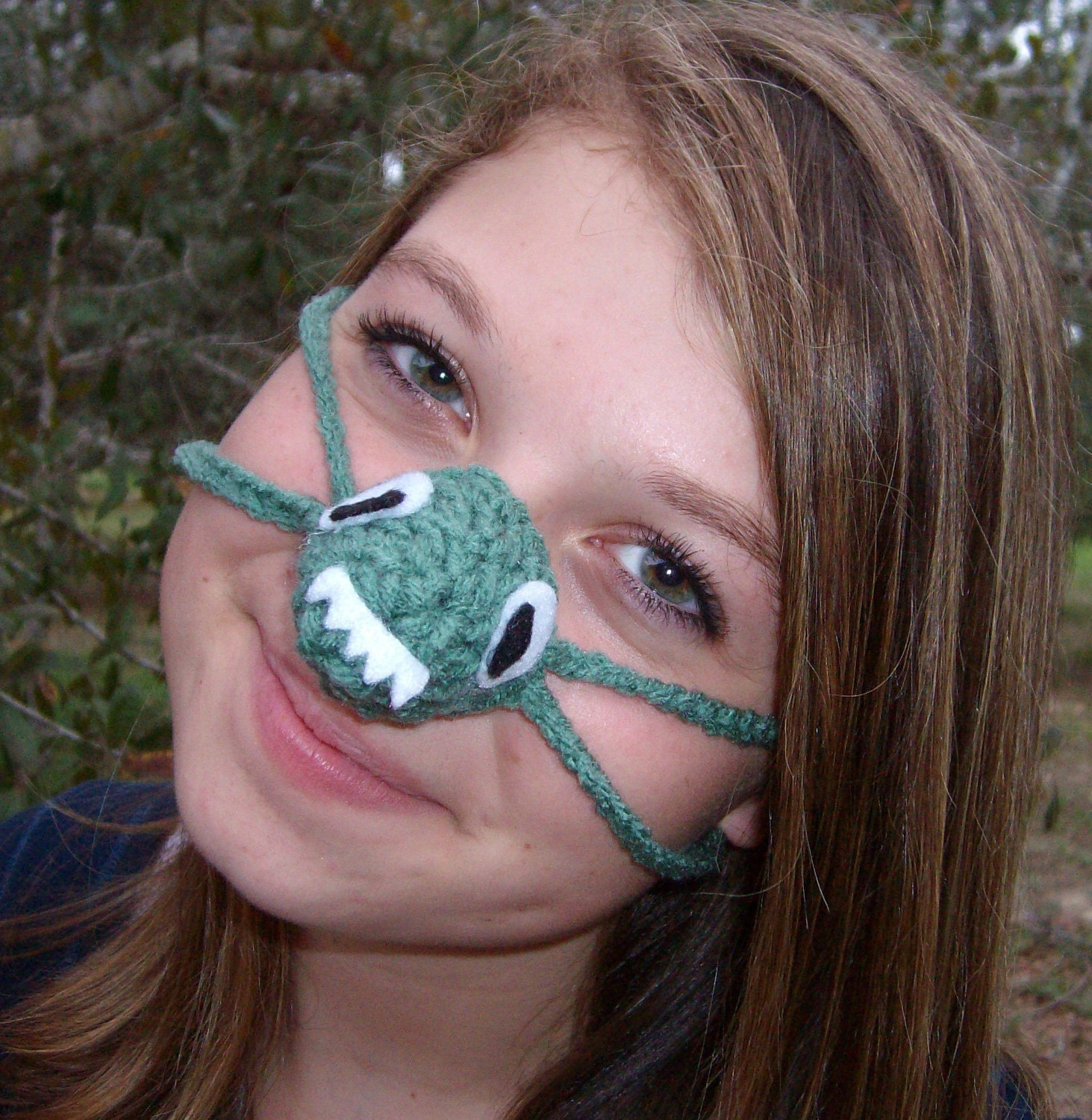 Crochet Nose Warmer : Green Monster Nose Warmer Fun Nose Cozy by auntmartymadeit on Etsy