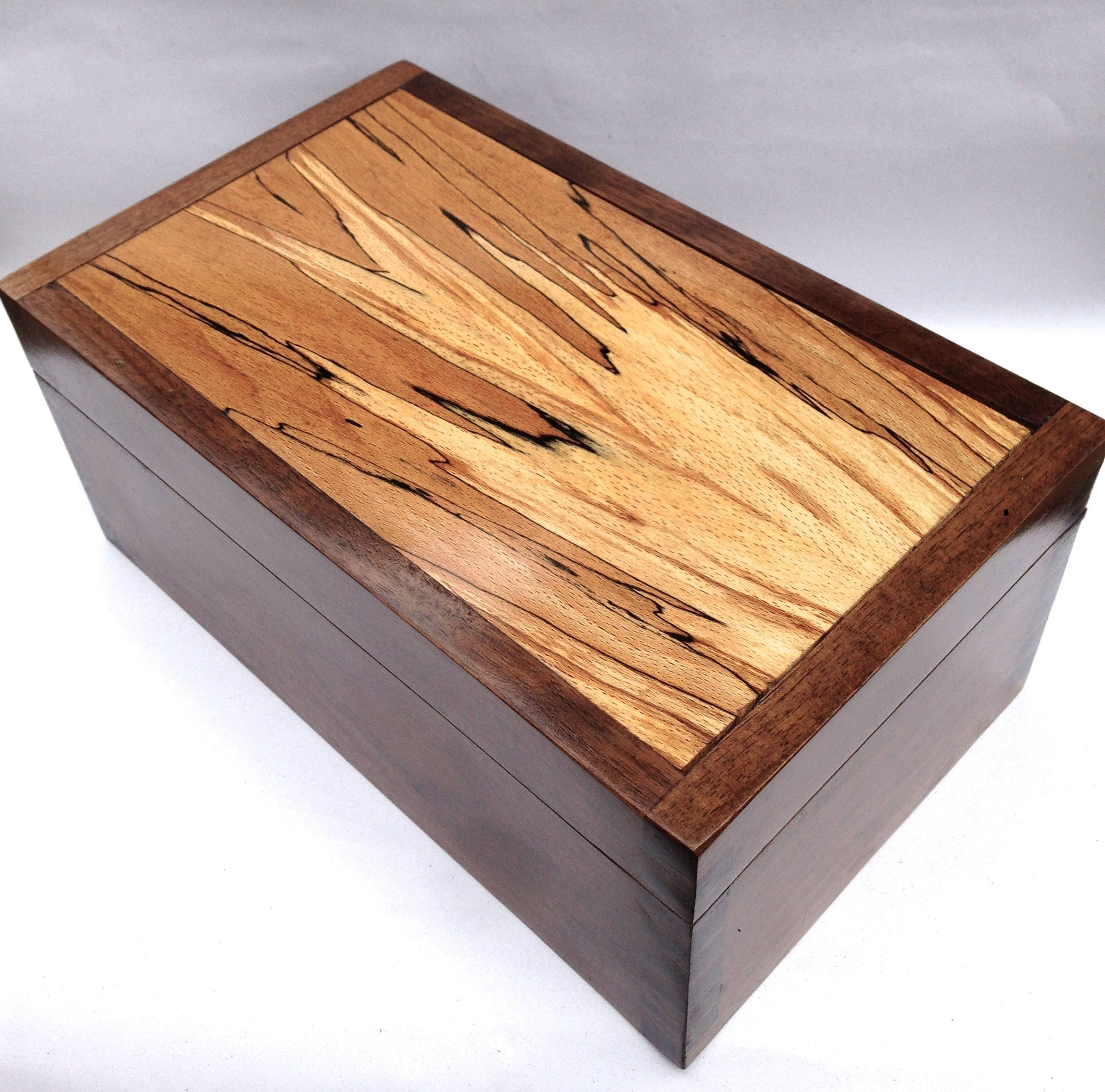 Digby  Handmade fine wood box contemporary walnut and spalted beech jewellery box but you can customise it in wood size and interior.