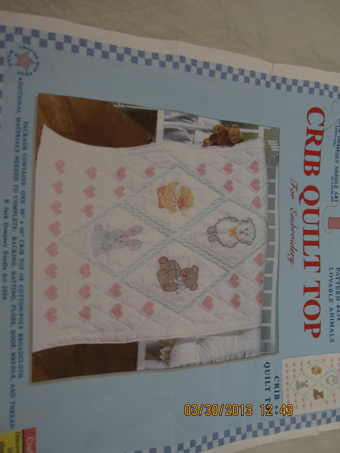 Items Similar To Stamped Cross Stitch Crib Quilt Top On Etsy