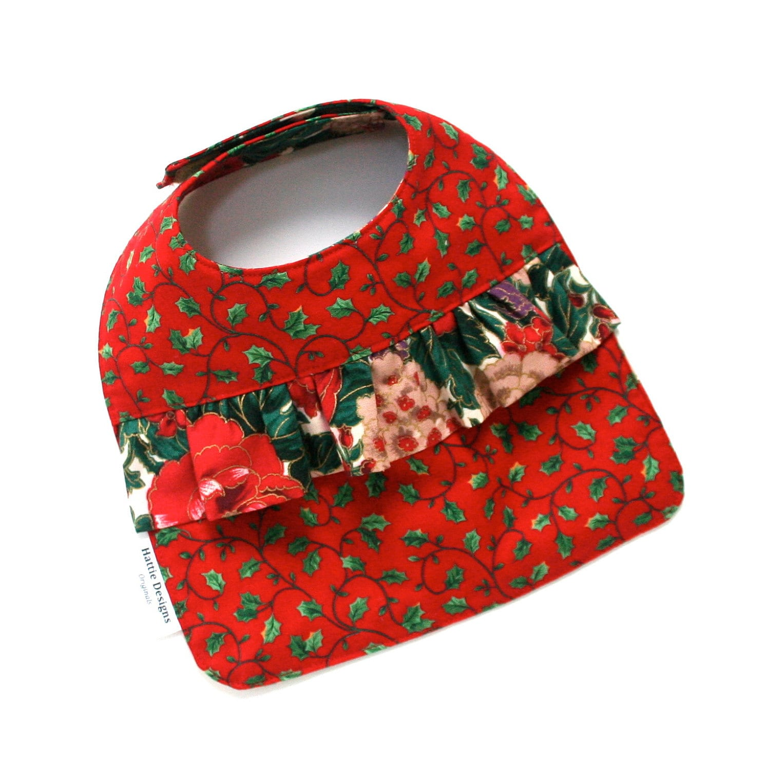 Baby Girl Bib Baby Girl Christmas Bib in Red Green and Purple Cotton
