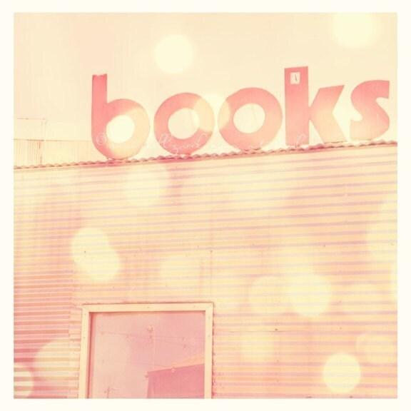 25% off sale - books - santa monica photograph - architecture lovers - california beach - lines and letters - dreamy pink city travel - exclusive la-la land series - original fine art print 5x5