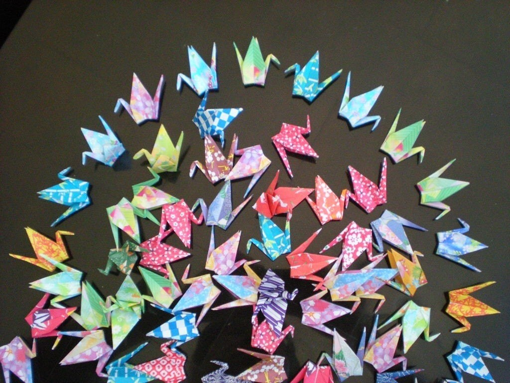 1000 origami crane or butterfly in 3 inches multi color pattern