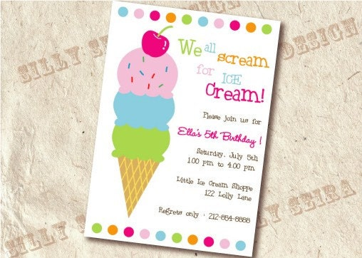 ice cream themed Bday party for ddhelp – Ice Cream Birthday Party Invitations