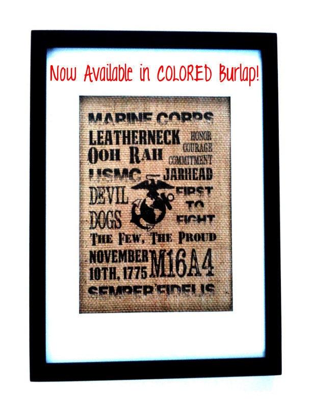 USMC 8x10 Original Tan Burlap Print Marine By HandmadeByLeeAnn
