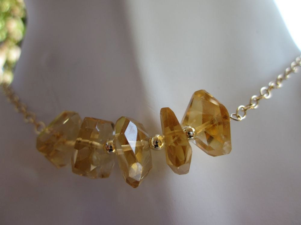 Orange Citrine Nuggets,14Kt Gold Filled-Autumn Sunrise Necklace